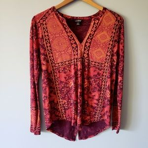 Lucky Brand Patterned Long Sleeve Tee